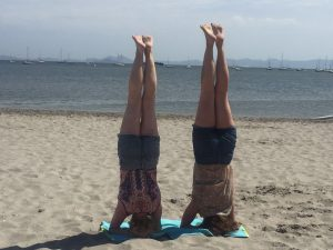 Headstand on beach